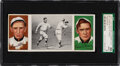 """Baseball Cards:Singles (Pre-1930), 1912 T202 Hassan Triple Folders Magee, Dooin """"Donlin Out a..."""