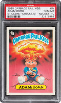 Non-Sport Cards:Singles (Post-1950), 1985 Topps Garbage Pail Kids Stickers Adam Bomb (Checklist Glossy) #8A PSA Gem Mint 10....