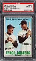 Baseball Cards:Singles (1960-1969), 1967 Topps Mays, McCovey - Fence Busters #423 PSA Mint 9 -...
