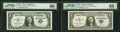 Small Size:Silver Certificates, Fr. 1619 $1 1957 Silver Certificates. A-A and C-A Blocks. ...