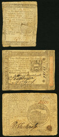 Colonial Notes:Pennsylvania, Continental Currency May 9, 1776 $4 Very Good-Fine;. Pennsylvania October 1, 1773 2s 6d Very Fine;. Pennsylvania April... (Total: 3 notes)