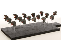 Collection of (16) replacement animation T-Rex dinosaur heads from The Beast of Hollow Mountain