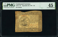 Continental Currency September 26, 1778 $5 PMG Choice Extremely Fine 45