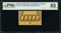 Fr. 1281 25¢ First Issue PMG Choice Uncirculated 63
