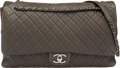"""Luxury Accessories:Bags, Chanel Charcoal Quilted Calfskin Leather XXL Flap Bag with Silver Hardware. Condition: 1. 16"""" Width x 10"""" Height x 5"""" ..."""