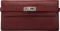 """Luxury Accessories:Accessories, Hermès Rouge H Chevre Leather Kelly Long Wallet with Palladium Hardware. Condition: 4. 8"""" Width x 4.5"""" Height x 1"""" Dep..."""