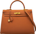 """Luxury Accessories:Bags, Hermès 35cm Gold Tadelakt Leather Sellier Kelly Bag with Gold Hardware. A Square, 1997. Condition: 4. 14"""" Width x ..."""
