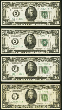 Fr. 2050-B $20 1928 Federal Reserve Notes. Two Examples. Very Fine or Better; Fr. 2052-B; F $20 1928B Dark Gree... (Tota...
