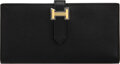"""Luxury Accessories:Accessories, Hermès Black Epsom Leather Bearn Wallet with Gold Hardware. A, 2017. Condition: 1. 7"""" Width x 3.5"""" Height x 1"""" Dep..."""