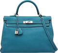 Luxury Accessories:Bags, Hermès 35cm Blue Jean Clemence Leather Retourne Kelly Bag with Palladium Hardware. P Square, 2012. Condition: 3. 1...