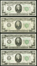 Small Size:Federal Reserve Notes, Fr. 2058-G; H; J; K $20 1934D Wide Federal Reserve Notes. ...