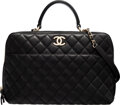 """Luxury Accessories:Bags, Chanel Black Quilted Lambskin Leather Trendy CC Bowler Bag with Gold Hardware. Condition: 2. 14"""" Width x 9"""" Height x 5..."""