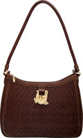 """Luxury Accessories:Bags, Kieselstein-Cord Brown Woven Leather Shoulder Bag. Condition: 4. 12.5"""" Width x 8.5"""" Height x 2.5"""" Depth. ..."""