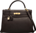 """Luxury Accessories:Bags, Hermès 32cm Chocolate Togo Leather Retourne Kelly Bag with Gold Hardware. E Square, 2001. Condition: 4. 12.5""""Width..."""