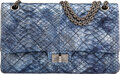 Luxury Accessories:Bags, Chanel Limited Edition Iridescent Blue Quilted Python 2.55 Reissue - 226 Double Flap Bag with Ruthenium Hardware . Conditi...