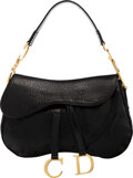 Luxury Accessories:Bags, Christian Dior Black Pebbled Leather Double Saddle Bag...
