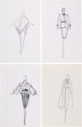 """Luxury Accessories:Home, Halston Set of Four Original Ink Sketches . Condition: 1. 8"""" Width x 12"""" Height. ... (Total: 4 Items)"""