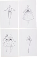 """Luxury Accessories:Home, Halston Set of Four Original Ink Sketches. Condition: 1. 8"""" Width x 12"""" Height. ... (Total: 4 Items)"""