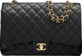 """Luxury Accessories:Bags, Chanel Black Quilted Caviar Leather Maxi Double Flap Bag with Gold Hardware. Condition: 3. 13"""" Width x 9"""" Height x 4"""" ..."""