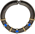 Luxury Accessories:Accessories, YSL Vintage Gunmetal Choker Necklace with Jeweled Details