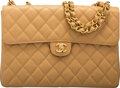 """Luxury Accessories:Bags, Chanel Vintage Beige Quilted Caviar Leather Jumbo Flap Bag with Gold Hardware. Condition: 2. 12"""" Width x 8.5"""" Height x 3.5"""" ..."""