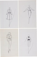 Luxury Accessories:Home, Halston Set of Four Original Ink Sketches Co...