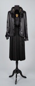 Textiles, A Coco Chanel Black Dress and Coco Chanel Jacket with Necklace. Labels to dress and jacket: CHANEL. Size: 4-6. ...