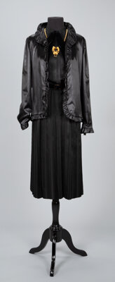 A Coco Chanel Black Dress and Coco Chanel Jacket with Necklace Labels to dress and jacket: CHANEL Si