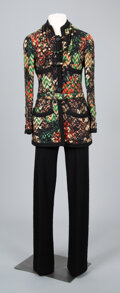Textiles, A Coco Chanel Two-Piece Wool Knit Pantsuit with Necklace. Labels to pantsuit: CHANEL. Size: 4-6. ...