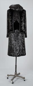 Textiles, A Coco Chanel Two-Piece Velvet and Sequined Dress with Coco Chanel Jacket and a Hat. Labels to dress and jacket: CHANEL...