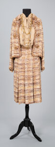 Textiles, A Coco Chanel Two-Piece Tweed Suit with Coco Chanel Silk Blouse, a Chanel Necklace, and an Additional Belt and Necklace. Lab...