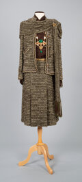 Textiles, A Coco Chanel Two-Piece Tweed Suit and Scarf, Chanel Necklace, with a Silk Blouse and a Belt. Labels to suit: CHANEL. Ma...