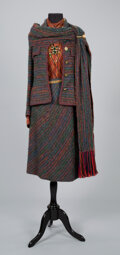 Textiles, A Coco Chanel Two-Piece Bouclé Wool Suit with Scarf, Coco Chanel Silk Blouse, Two Chanel Necklaces, a Chanel Belt, and a Pin...