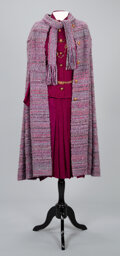 Textiles, A Coco Chanel Wool Bouche Cape and Scarf with Coco Chanel Two-Piece Suit, Chanel Necklace and Chanel Belt. Label to cape and...