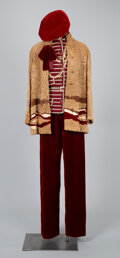 Textiles, A Coco Chanel Pantsuit with Velvet Pants, Coco Chanel Lamb Fur Jacket, Chanel Necklace, with a Velvet Beret and an Additional ...