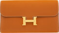 """Luxury Accessories:Bags, Hermès Gold Epsom Leather Constance Long Wallet with Gold Hardware. X, 2016. Condition: 1. 8"""" Width x 5"""" Height x ..."""