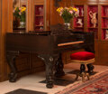 A Steinway & Sons Mahogany Square Grand Piano with a Victorian Stool, 1870 Marks: STEINWAY & SONS, PAT NOV 29 18...