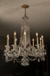 A French Baccarat-Style Glass Twelve-Light Chandelier, early 20th century 39 x 30 inches (99.1 x 76.2 cm)