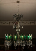 Lighting, A Bohemian Green Cut to Clear Glass Chandelier. 42 inches (106.7 cm) (diameter). ...