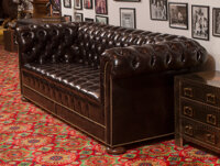 A Pair of American Leather Chesterfield Sofas 30-1/4 x 90 x 32 inches (76.8 x 228.6 x 81.3 cm) (each)  ... (Total: 2 Ite...