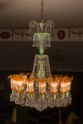 Lighting, A French Glass Chandelier with Green and Gold Chimney Shades Attributed to Baccarat. 42 inches (106.7 cm) (diameter). ...