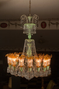 A Bohemian Glass Chandelier with Green and Gold Chimney Shades Attributed to Baccarat 42 inches (106.7 cm) (diamet