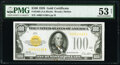 Small Size:Gold Certificates, Fr. 2405 $100 1928 Gold Certificate. PMG About Uncirculate...