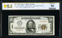 Reno, NV - $50 1929 Ty. 1 The Reno National Bank Ch. # 8424 PCGS Banknote Very Fine 30