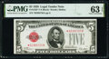 Small Size:Legal Tender Notes, Fr. 1525* $5 1928 Legal Tender Note. PMG Choice Uncirculat...