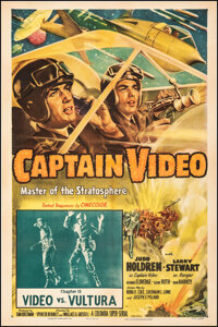 """Captain Video, Master of the Stratosphere (Columbia, 1951). Fine/Very Fine on Linen. One Sheet (27"""" X 41"""") Cha..."""