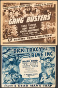 """Movie Posters:Serial, Dick Tracy vs. Crime Inc. & Other Lot (Republic, 1941). Fine-. Trimmed Title Lobby Card (10.25"""" X 13.5"""") & Title Lobby Card ... (Total: 2 Items)"""