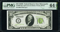 Fr. 2002-I $10 1928B Light Green Seal Federal Reserve Note. PMG Choice Uncirculated 64 EPQ