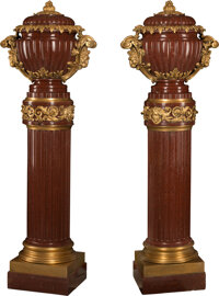 A Pair of French Napoleon III Gilt Bronze Mounted Covered Urns on Fluted Rouge Marble Columns, 19th century 75 x