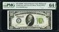 Fr. 2002-E $10 1928B Light Green Seal Federal Reserve Note. PMG Choice Uncirculated 64 EPQ
